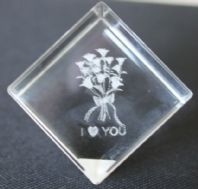 I Love You(flowers) Crystal Laser Cube